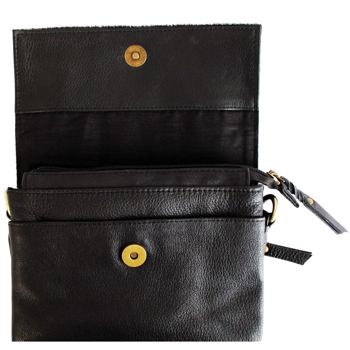 open view of  black leather shoulder bag by celtic ranch