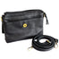 open view of  black leather shoulder bag with adjustable strap by celtic ranch