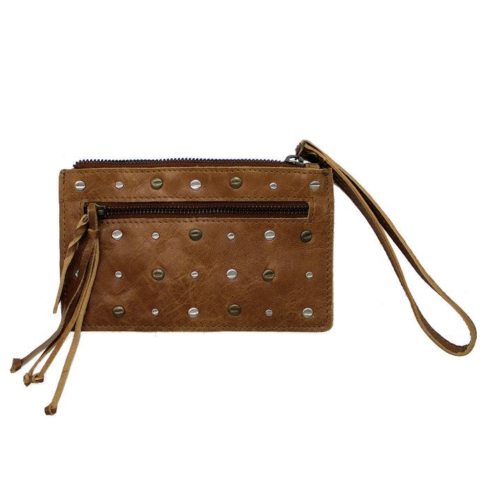 front of coffee brown leather button decorative rivet pouch by celtic ranch