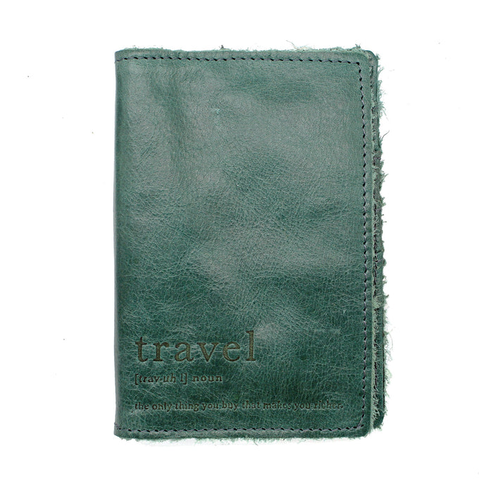 front of distressed green leather passport cover by celtic ranch