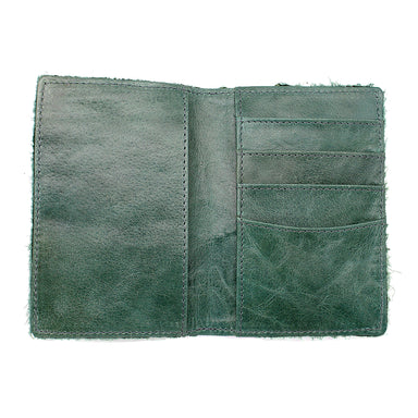 open distressed green leather passport cover by celtic ranch