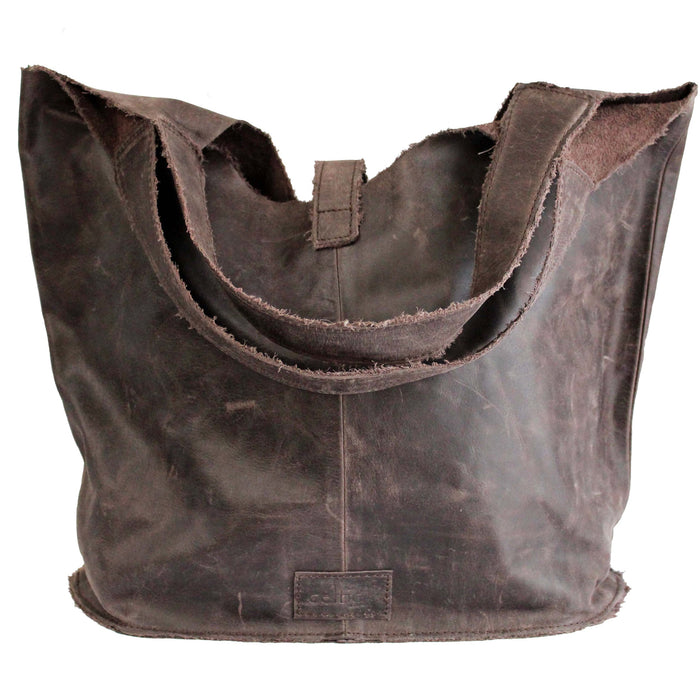 back of brown Distressed Leather Tote with Buckle by The Celtic Ranch