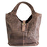 front of brown Distressed Leather Tote with Buckle by The Celtic Ranch
