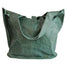 back of green Distressed Leather Tote with Buckle by The Celtic Ranch