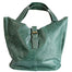 front of green Distressed Leather Tote with Buckle by The Celtic Ranch