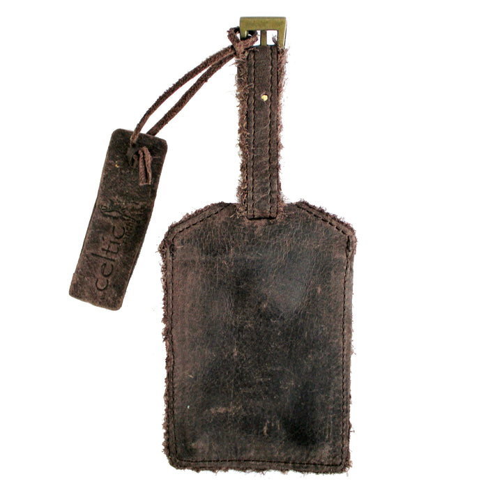 back of coffee brown distressed leather luggage tag by celtic ranch