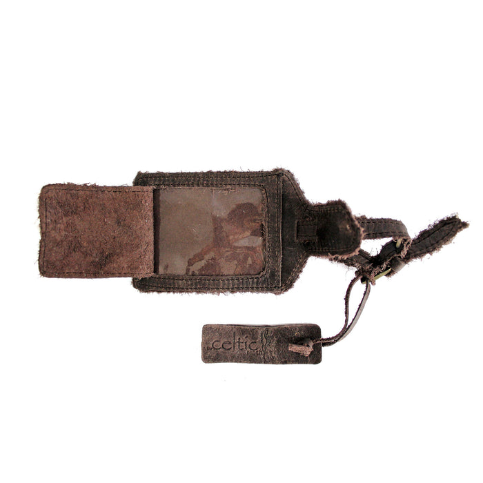 inside of coffee brown distressed leather luggage tag by celtic ranch