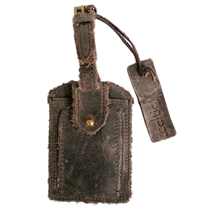 front of coffee brown distressed leather luggage tag by celtic ranch