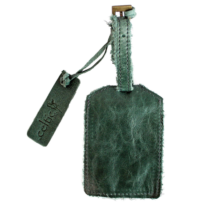 back of green distressed leather luggage tag by celtic ranch
