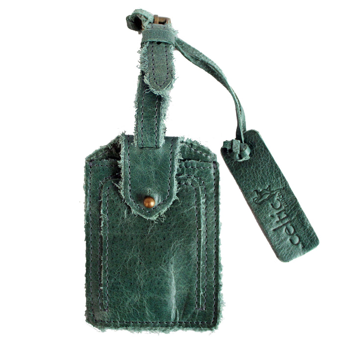 front of green distressed leather luggage tag by celtic ranch