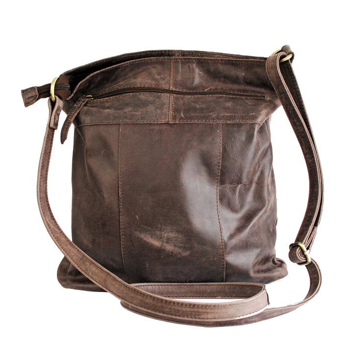 back of distressed leather sling brown bag by celtic ranch
