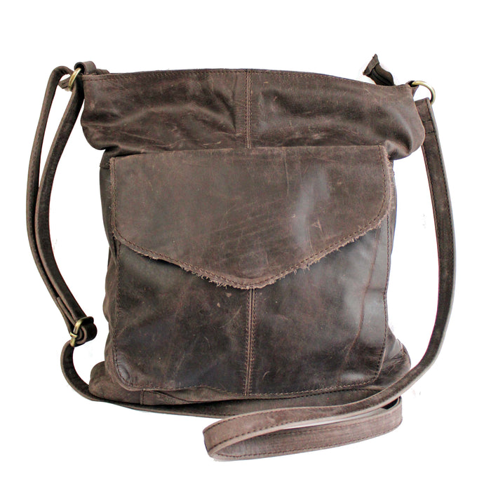 front of distressed leather sling brown bag by celtic ranch
