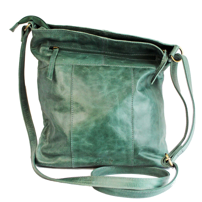 back of distressed leather sling green bag by celtic ranch