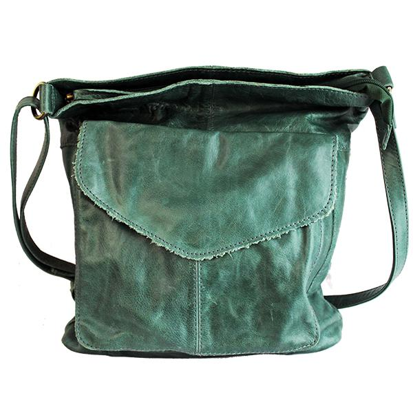 front of distressed leather sling green bag by celtic ranch