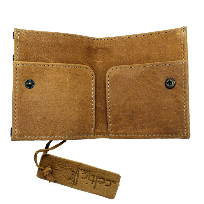open pockets of leopard hide leather wallet card holder by celtic ranch
