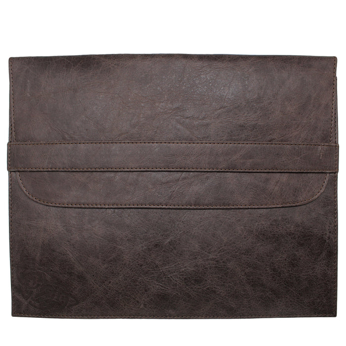 back of brown leather file folder macbook laptop cover by celtic ranch