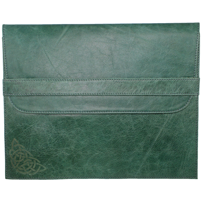 back of green leather file folder macbook laptop cover by celtic ranch