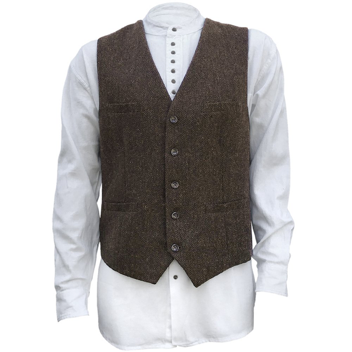 front of brown blended wool vest by celtic ranch