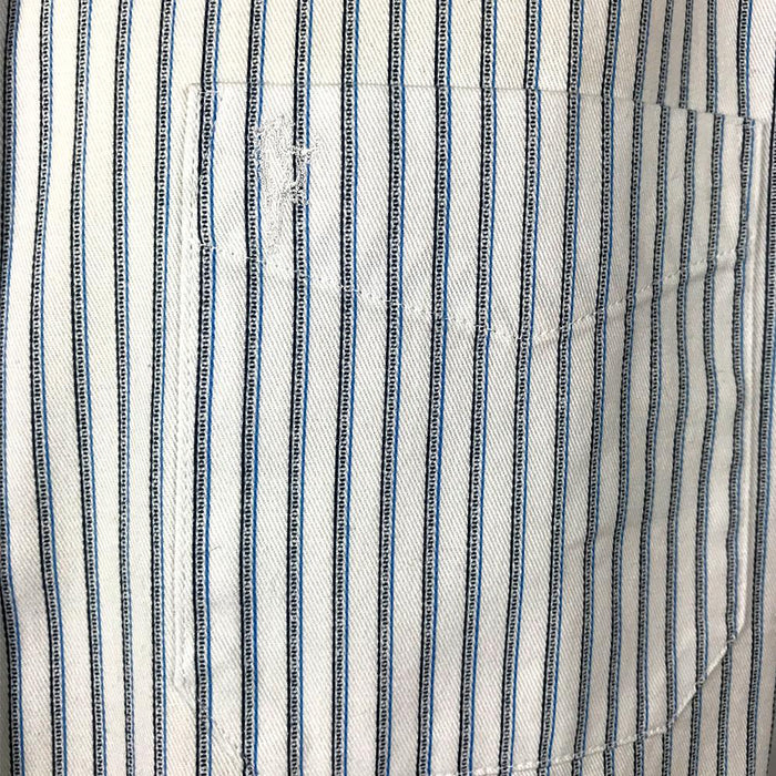 detail of blue stripe celtic ranchwear shirt