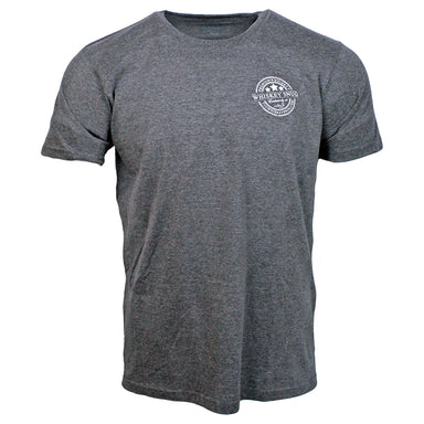 front of heather grey whiskey snug logo t-shirt by the celtic ranch