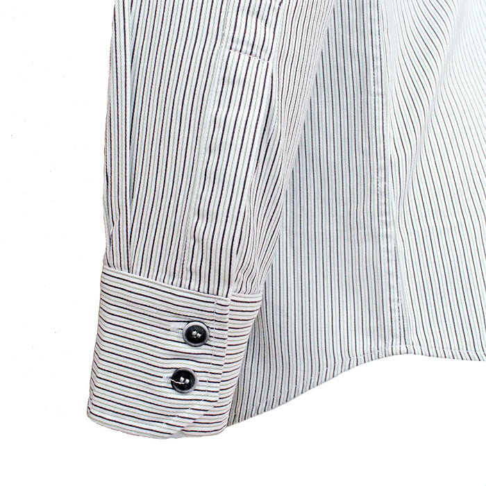 close up of buttons and sleeve of black and white stripe grandfather shirt by celtic ranchwear
