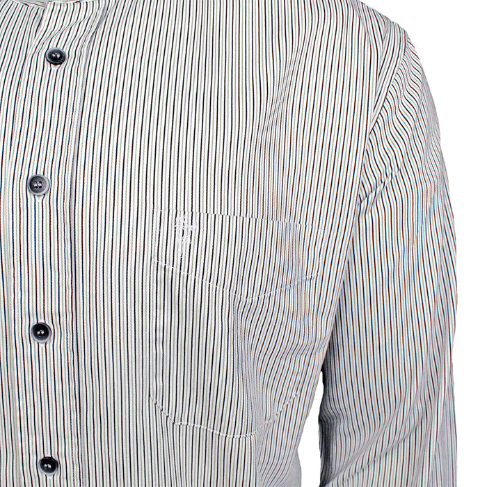 close up of buttons and pocket of the black and white stripe grandfather shirt by celtic ranchwear