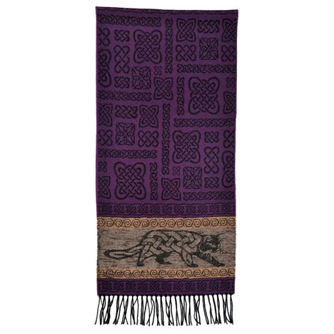 beastie cat detailed woven scarf by celtic ranchwear