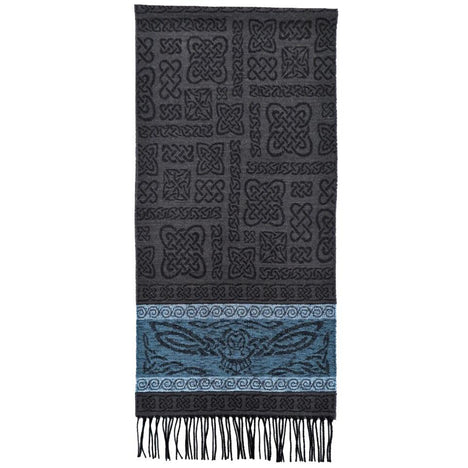 beastie owl detailed woven scarf by celtic ranchwear