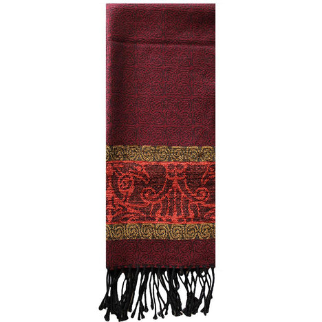 claret bird detailed woven scarf by celtic ranchwear