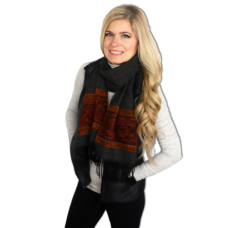 model of charcoal dog detailed woven scarf by celtic ranchwear