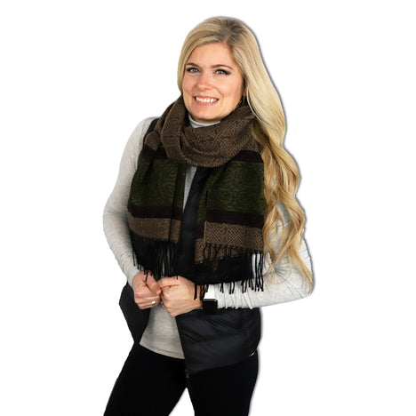 model of nordic forest detailed woven scarf by celtic ranchwear