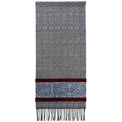 nordic grey detailed woven scarf by celtic ranchwear