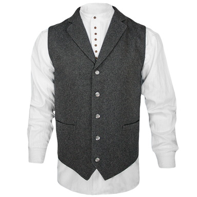 front of western style wool lapel vest by celtic ranchwear