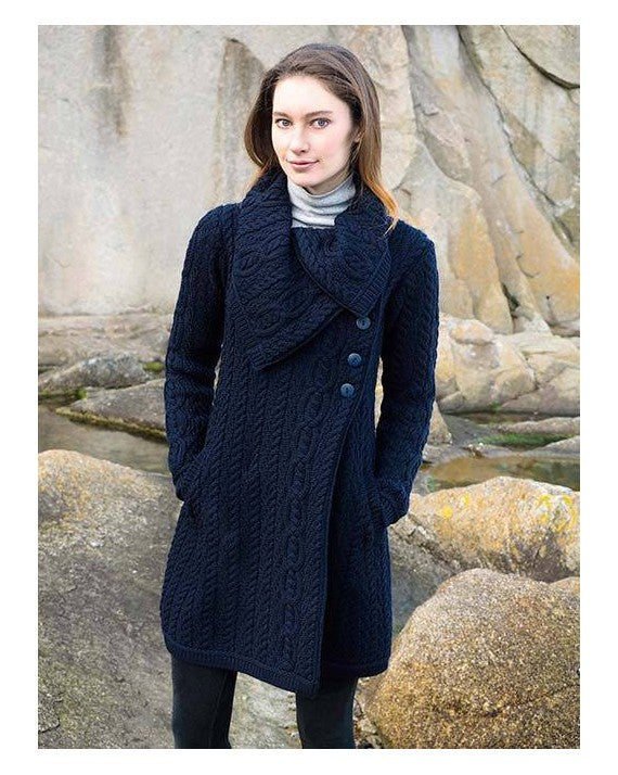 Large Collar Button Coat by West End Knitwear Ltd. / navy