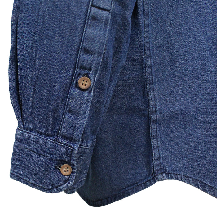 civilian grandfather shirt in blue denim sleeve details