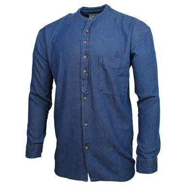front view of civilian grandfather shirt in denim blue