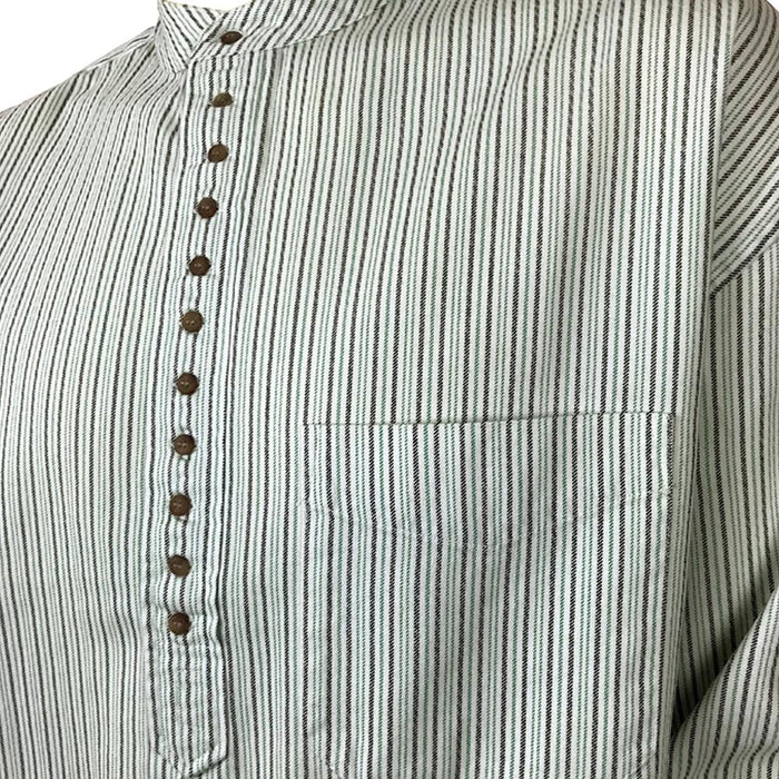 inset of stripe green grandfather shirt by civilian
