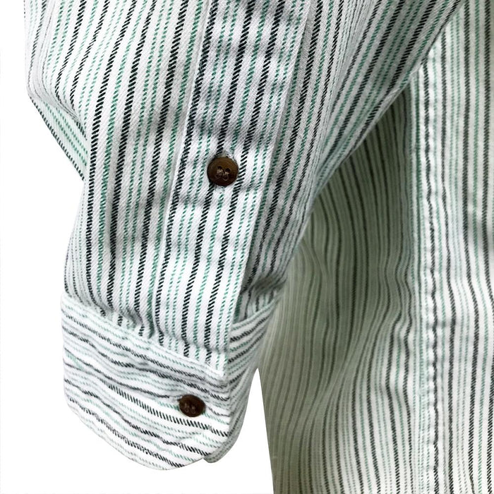 sleeve of stripe green grandfather shirt by civilian