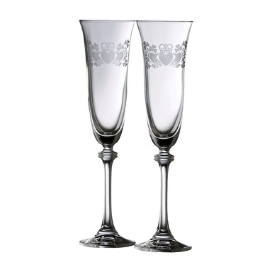 claddagh and shamrock galway crystal flute pair