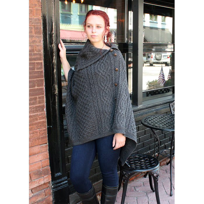 model of charcoal cowl neck button poncho by west end knitwear