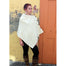 model of natural knit cowl neck button poncho by west end knitwear