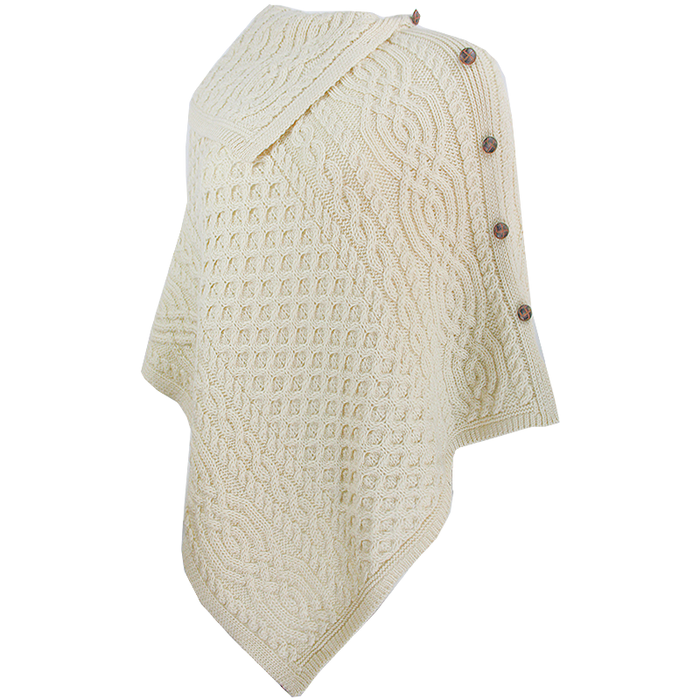 side view of natural knit cowl neck button poncho by west end knitwear