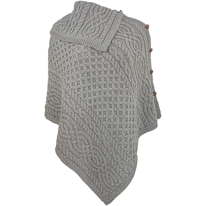 soft grey cowl neck button poncho by west end knitwear