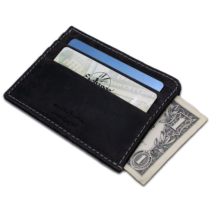 front of black credit card case magnet
