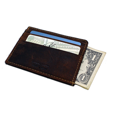 front of brown credit card magnet case