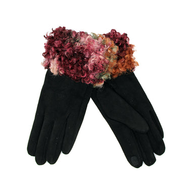 Curly Faux Fur Cuff Gloves Black