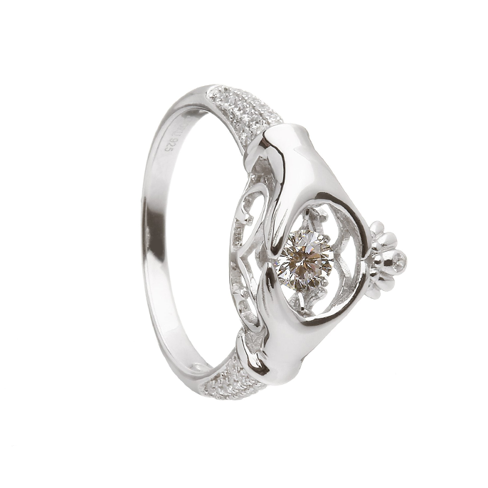 damhsa dancing cz trinity claddagh ring by boru