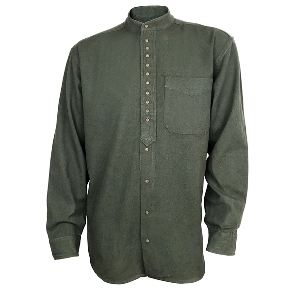 front of army green grandfather shirt by civilian