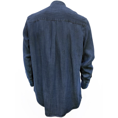 back of dark blue tencel grandfather shirt by celtic ranch