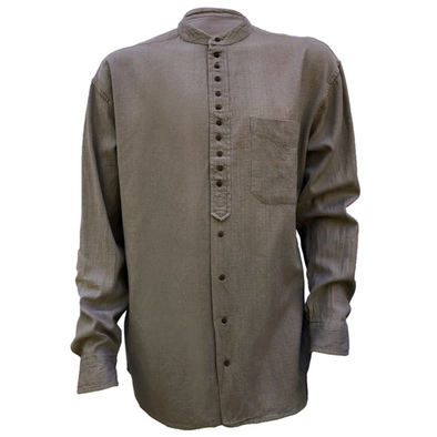 dark brown irish collarless linen grandad shirt